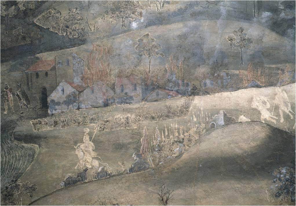 Effetti del Malgoverno, le città bruciano, Ambrogio Lorenzetti, 1337-1339.